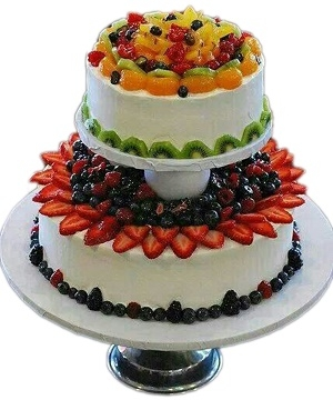 2-Tier Fresh Fruit Cake