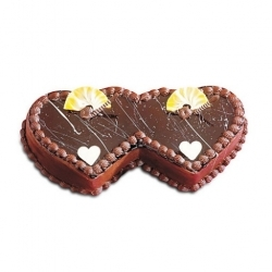 Valentines 2 Kg Double Heart Choco Cake
