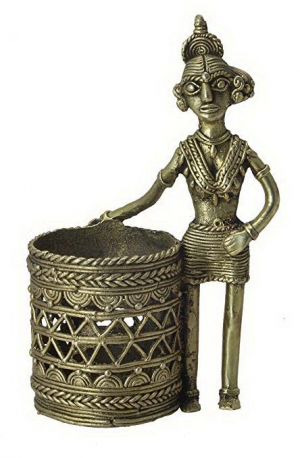 Brass Lady Pen Stand (Bastar Tribal Dhokra Art)